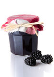 Jar of blackberry jam with fresh blackberries Royalty Free Stock Photo