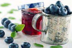 Jar of blueberry jam Stock Photo