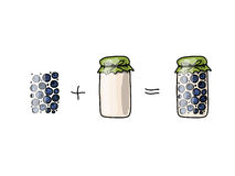 Jar with blueberry jam, sketch for your design Royalty Free Stock Photography