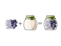 Jar with blueberry jam, sketch for your design Stock Photo