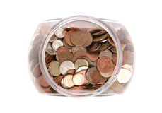 Jar of British currency coins Royalty Free Stock Photo