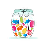 Jar of candy. Colorful sweet candy frame. Royalty Free Stock Images