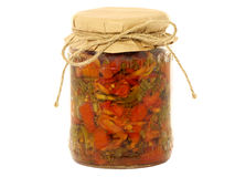 Jar of canned mixed vegetables. Isolated on white stock photo