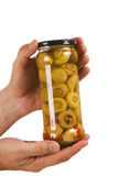 Jar of canned mushrooms Royalty Free Stock Photos