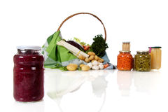 Jar with canned red cabbage, Stock Images