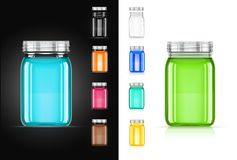 Jar with cap for trendy drink. vector illustration