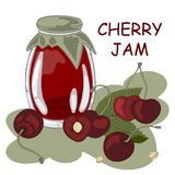 Jar of cherry jam, sour cherries. Jar of cherry jam and red sour cherries,  illustration Royalty Free Stock Images