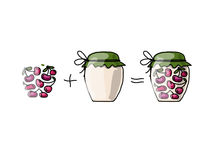 Jar with cherry jam, sketch for your design. Vector illustration Stock Photography