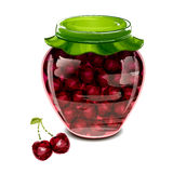 Jar of cherry jam. Vector illustration Royalty Free Stock Photography