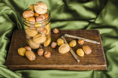 Jar of Christmas Nuts with a Nutcracker Stock Photography