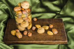 Jar of Christmas Nuts Stock Photo
