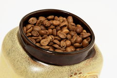 Jar of coffee beans Royalty Free Stock Images
