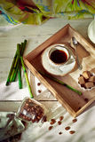 Jar of coffee beans set with a cup of espresso and accessories Royalty Free Stock Photos