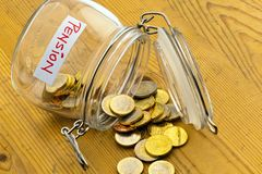 Jar with coins. inscription retirement / pension royalty free stock photo
