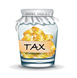 Jar with coins; tax concept Stock Photos