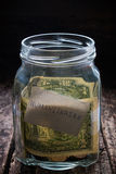 Jar for collection of funds in need on a wooden. Background Royalty Free Stock Images