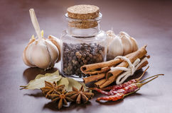 Jar and collection of spices Royalty Free Stock Photos