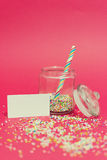 Jar with colorful sweets and blank message Royalty Free Stock Image
