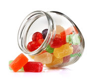 Jar with colour candy Stock Photos