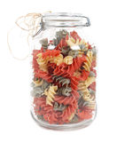 Jar of colourful pasta Stock Photography