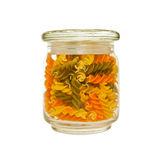 Jar of colourful Pasta Royalty Free Stock Photography
