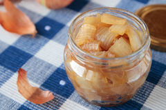 Jar with confiture of onions Royalty Free Stock Photos