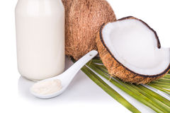 Jar containing coconut oil are used as cooking ingredient Stock Images