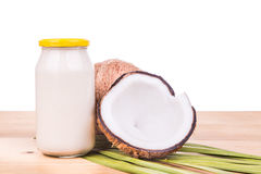 Jar containing coconut oil are used as cooking ingredient Royalty Free Stock Images
