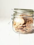 Jar with Cookies in the shape of Hearts Stock Images