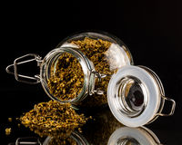 Jar of coriander seeds Royalty Free Stock Photo