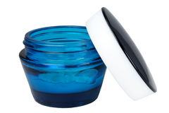 Jar with a cosmetic cream. On a white background Stock Photos