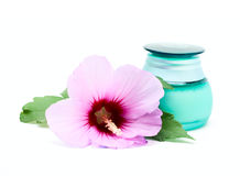 Jar for cosmetic cream and flower Stock Photos