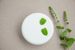 Jar of cream with sprigs of fresh peppermint on a grey background. Top view. Jar of cosmetic skin care cream next to fresh peppermint on a grey background. Top royalty free stock images