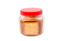 Jar  with cracker biscuit isolated on white Stock Images