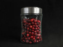 Jar of Cranberries. On Black Background royalty free stock image