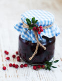 Jar of cranberries jam Royalty Free Stock Image