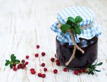 Jar of cranberries jam Stock Image