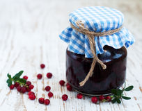 Jar of cranberries jam Royalty Free Stock Images