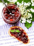 Jar of cranberry jam, selective focus. Preserved food. Morning still life. Food for breakfast or snack. Jam with bread Stock Photography