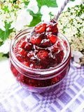 Jar of cranberry jam, selective focus. Preserved food. Morning still life. Food for breakfast or snack. Jam with bread Stock Photos
