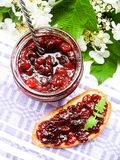 Jar of cranberry jam, selective focus. Preserved food. Morning still life. Food for breakfast or snack. Jam with bread Stock Image