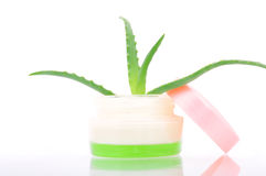 Jar of cream with aloe. Isolated on a white background Stock Photo