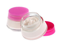 Jar of cream for body care. Clem face. Hand cream Royalty Free Stock Photo
