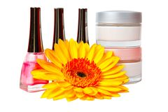 Jar of cream, nail polish, gerbera Stock Image