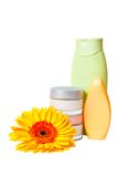 Jar of cream, nail polish, gerbera Stock Photo