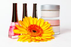 Jar of cream, nail polish, gerbera Royalty Free Stock Photos