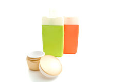 Jar of cream and other toiletry. On white Stock Image