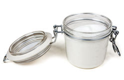 Jar of cream with a steel lock Stock Photos