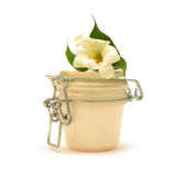 Jar with creamy substance, flower, green leaves Royalty Free Stock Image