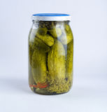 Jar with cucumbers Stock Photos